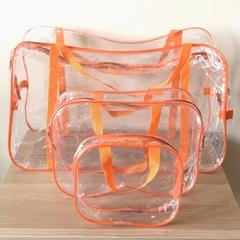 Прозрачная сумка в роддом с 2 косметичками, оранжевая, вид 3