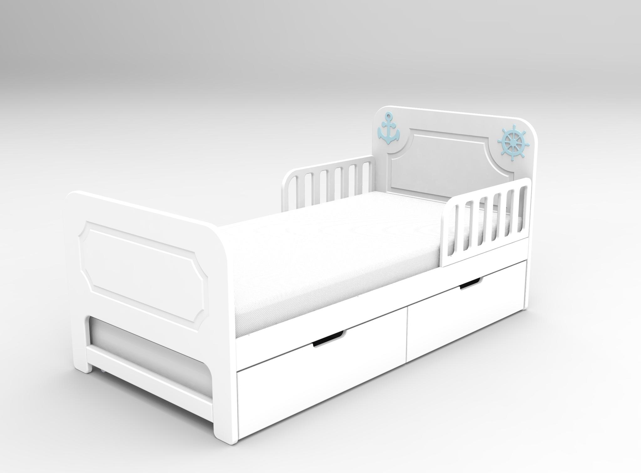 Кровать с ящиками Море Белая