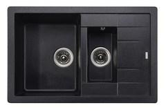 Мойка Kaiser (Кайзер) KG2M-7850-BP Black Pearl для кухни из искусственного камня, прямоуголная, двойная