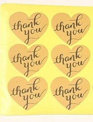 Наклейка Thank You сердце 6 шт