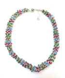 Бисерное ожерелье Facilità из 12 нитей серебритое мультиколор