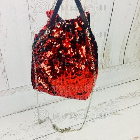 Сумка-мешок с пайетками меняющая цвет Красно-Чёрный
