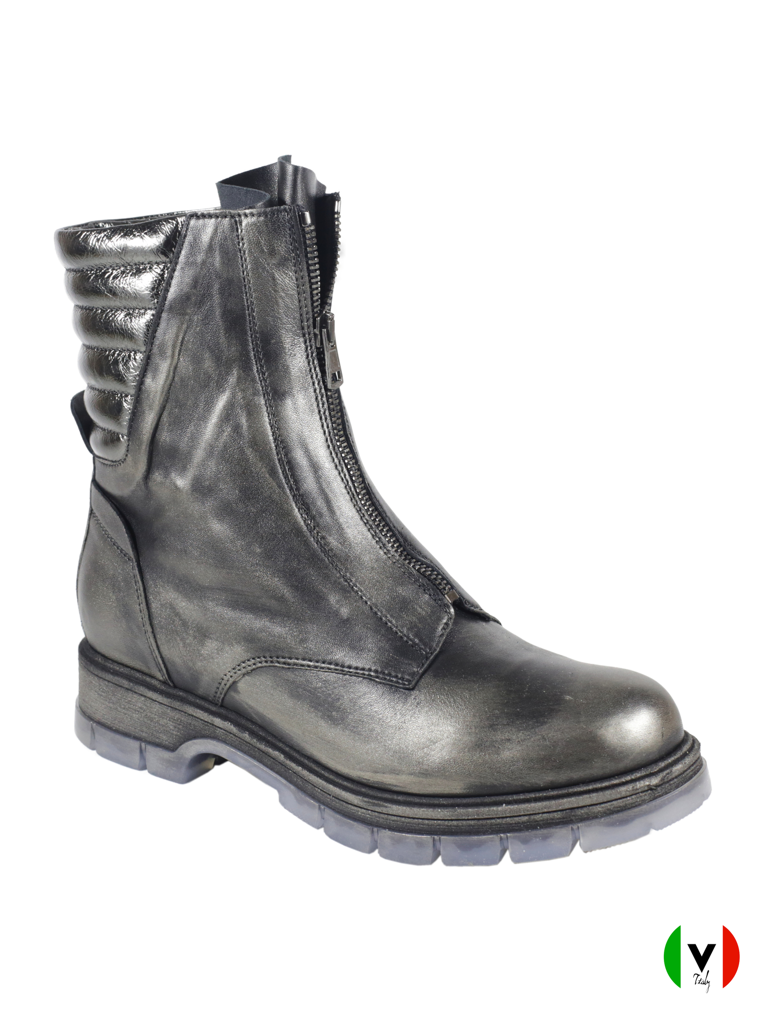 Зимние ботинки Fru.it в стиле гранж 5827, артикул 5827, сезон зима, цвет металлизированный антрацит, материал кожа, цена 17 500 руб., veroitaly.ru