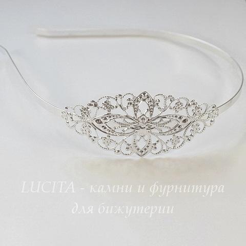 Ободок для волос с филигранью 77х35 мм (цвет - серебро), 4,5 мм