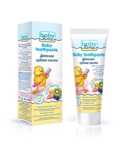 Babyline. Детская гелевая зубная паста со вкусом Тутти-Фрутти 75 мл