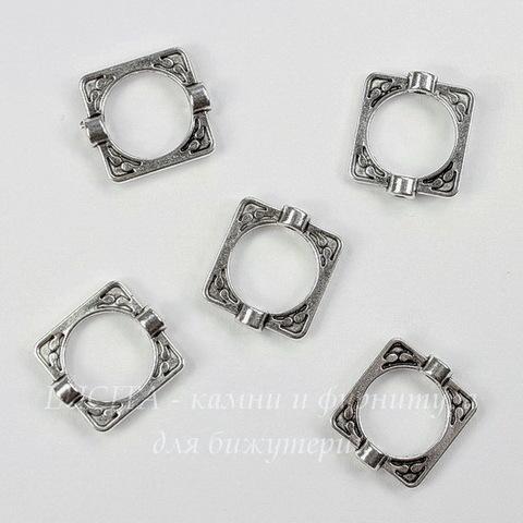 Рамка для бусины квадратная 16х14 мм (цвет - античное серебро), 5 штук