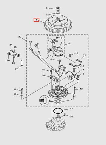 Маховик для лодочного мотора T40 Sea-PRO (8-1)