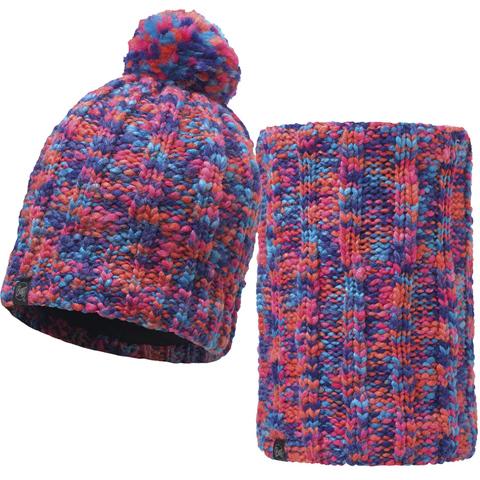 Комплект шапка шарф вязаный с флисом Buff Livy Orange
