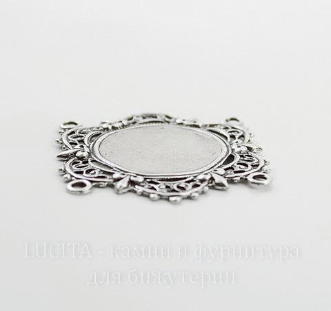 """Сеттинг - основа - коннектор """"Филигрань"""" (2-2) для камеи или кабошона 18 мм (оксид серебра)"""