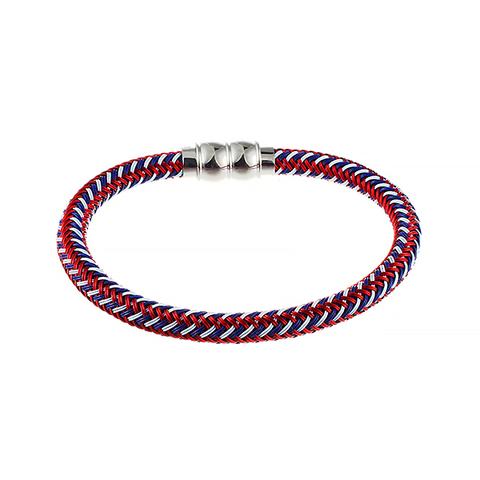 Стильный модный плетёный цветной текстильный браслет со стальной магнитной застёжкой JV 372-0006 в подарочной упаковке