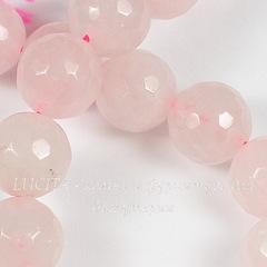 Бусина Кварц, шарик с огранкой, цвет - розовый, 12 мм, нить