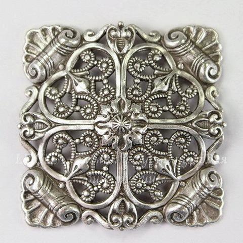 Винтажный декоративный элемент - штамп 33х33 мм (оксид серебра)