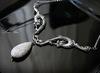 """Винтажный декоративный элемент - Пара штампов """"Химеры"""" 73х18 мм  (оксид серебра) (Кулон с Говлитом. Пример)"""