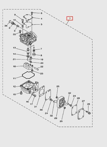 Карбюратор  для лодочного мотора T15, OTH 9,9 SEA-PRO (5-1)