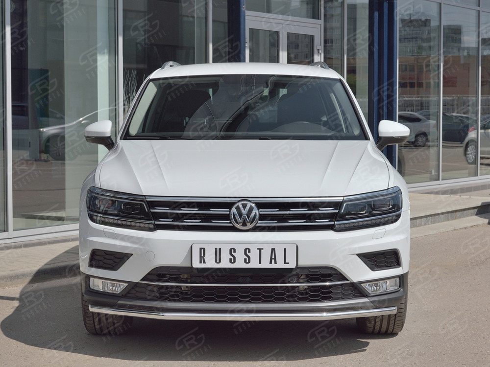 Передняя защита 63мм (КРОМЕ OFF ROAD) VGZ-002714 для Volkswagen Tiguan 2017- toyl 18w 4 6 white xbd led 6500k off road work spot light lamp bar car