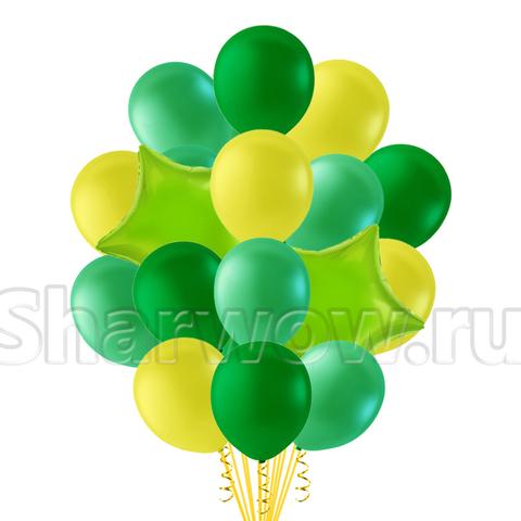 Букет воздушных шаров в желто-зеленой гамме
