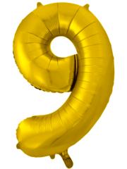 Шар (34''/86 см) Цифра, 9, Золото,  1 шт.
