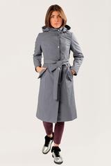Стеганая куртка прямого силуэта с капюшоном