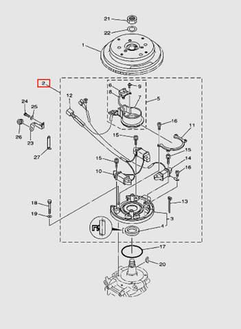 Магнетто в сборе для лодочного мотора T40 Sea-PRO (8-2)