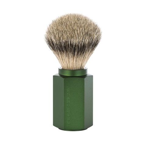 Помазок MUEHLE HEXAGON, барсучий ворс высшей категории Silvertip, анодированный алюминий, зеленый