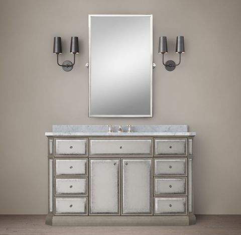 1930s French Mirrored Single Extra-Wide Vanity