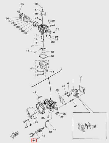 Ручка воздушной заслонки внеш.для лодочного мотора T5 Sea-PRO (3-44)
