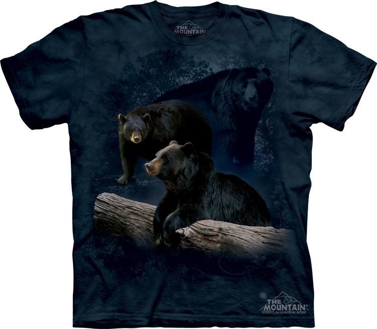 Футболка Mountain с изображением трех черных медведей - Black Bear Trilogy