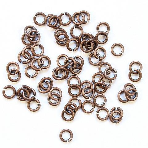 Комплект колечек одинарных 4х0,8 мм (цвет - античная медь), 10 гр (примерно 230 шт)