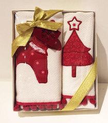 Набор махровых салфеток Новый год RED DEER 2пр 40х60  Tivolyo Home Турция