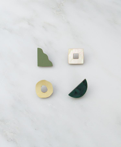 Серьги Collage Studs in Green Marble
