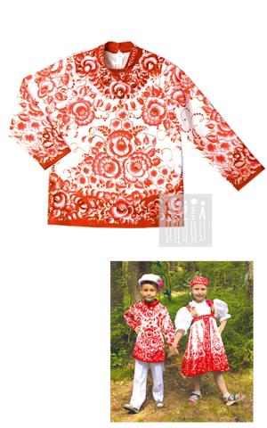 Картинка Гжель Красная расписная рубаха для мальчика