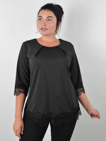 Лаура. Святкова блуза для великих розмірів. Чорний.