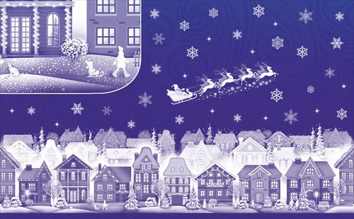 Набор новогодних наклеек на окна -