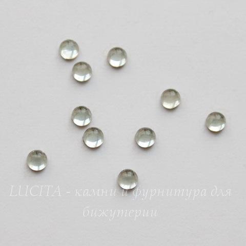 Кабошон круглый Чешское стекло, цвет - прозрачный, 3 мм, 10 штук