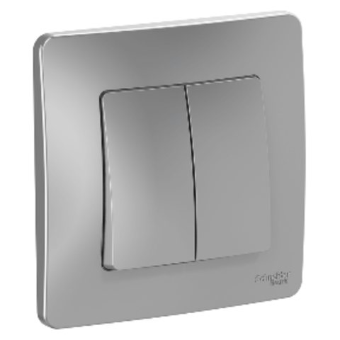 Выключатель двухклавишный. 10А. 250В. Цвет Алюминий. Schneider Electric Blanca. BLNVS010503