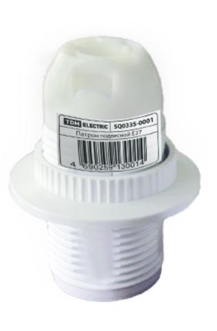 Патрон Е14 с кольцом, термостойкий пластик, белый, TDM