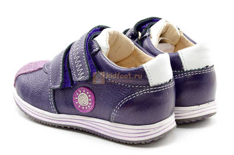 Ботинки для девочек Лель (LEL) из натуральной кожи на липучках цвет фиолетовый, 3-927A. Изображение 8 из 16.