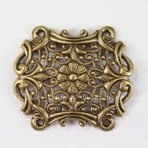 Винтажный декоративный элемент - филигрань с цветком 39х34 мм (оксид латуни)