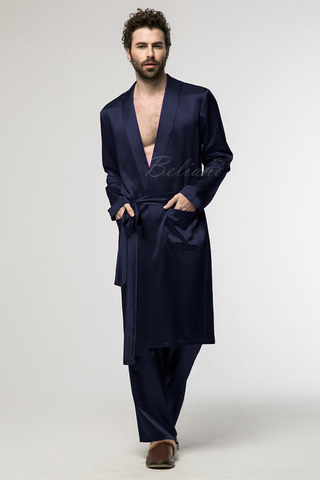 Мужской шелковый комплект для дома (халат и брюки) синего цвета