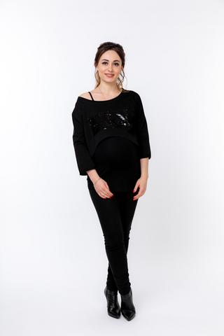 Джемпер для беременных и кормящих 10014 черный
