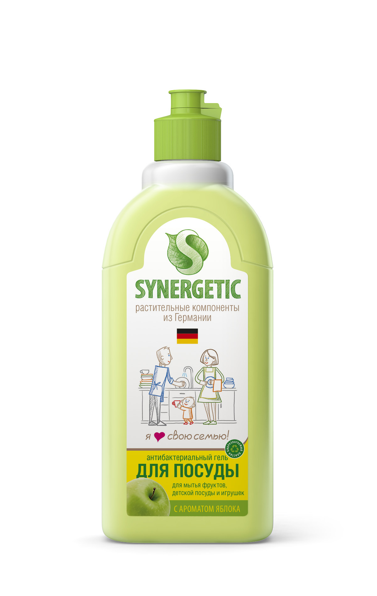 Средство для мытья посуды с ароматом яблока (флакон 0,5 литр флиптоп) SYNERGETIC