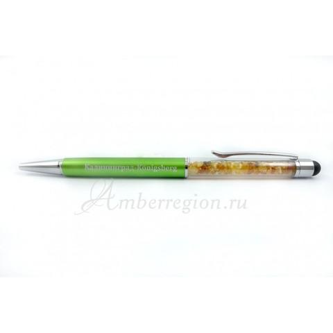 Ручка-стилус с янтарем (зелёная)