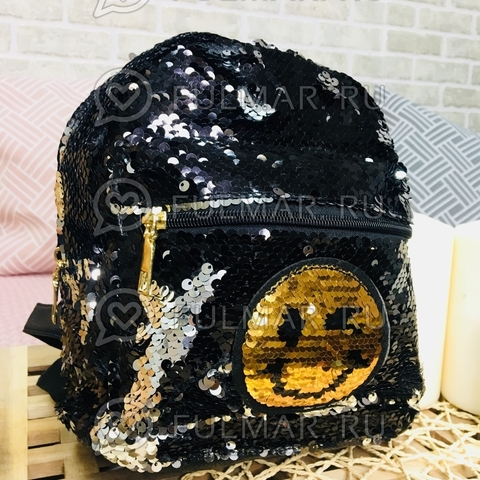 Рюкзак с пайетками с двусторонними пайетками нашивкой Смайлик меняет цвет Чёрный-Серебристый
