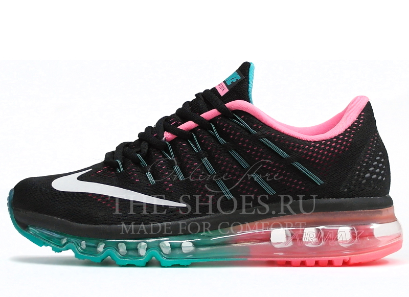 96ba0ff11 ... Кроссовки Женские Nike Air Max 2016 Black Pink Turquise. Артикул: 201610