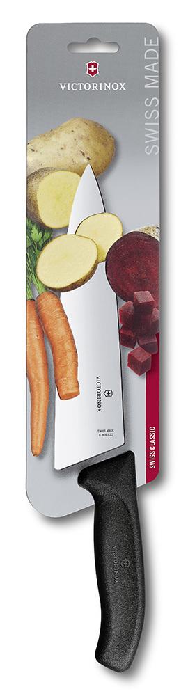Нож Victorinox разделочный, лезвие 20 см широкое, черный, в картонном блистере