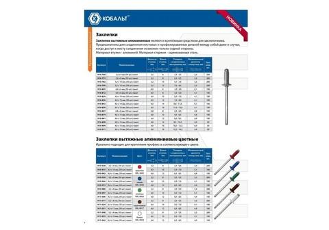 Заклепки КОБАЛЬТ алюминиевые, 3,2 х 8 мм, синие RAL 5005 (50 шт.) пакет