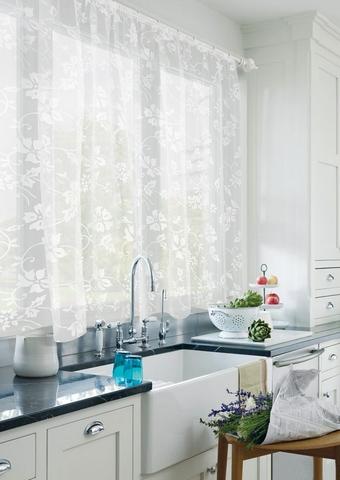 Готовая штора для кухни органза деворе Клематис белый
