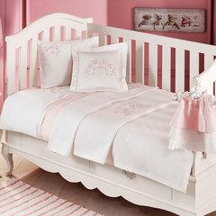 НАБОР ЯСЛИ: Детское  постельное белье с пледом FAMILY BEBE розовый deluxe TIVOLYO HOME Турция
