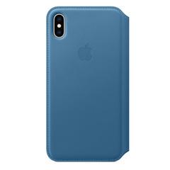 Кожаный чехол Apple Leather Folio для iPhone XS Max, цвет (Cape Cod Blue) лазурная волна