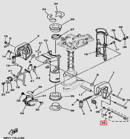 Штифт регулировки угла наклона для лодочного мотора F5 Sea-PRO(16-25)